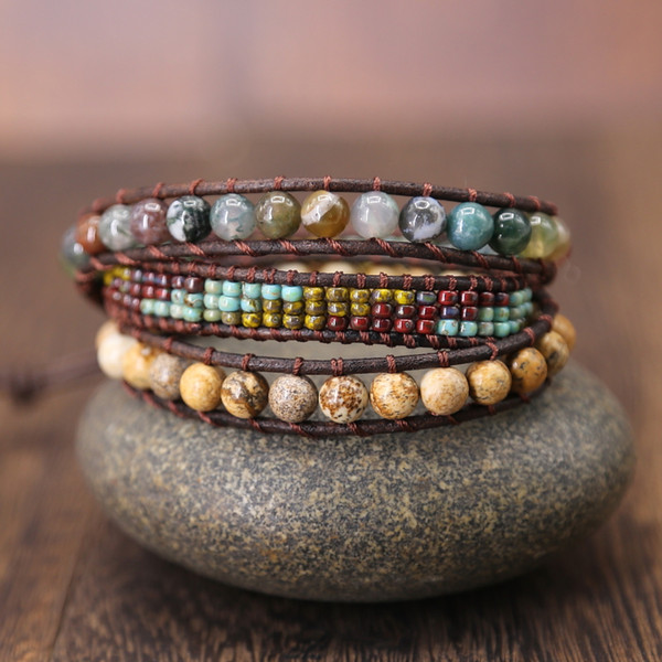 Vintage Leather Bracelets 6MM Stone 3 Strands Wrap Bracelets Woven Multilayer seed  Boho Bracelet Handmade gift Jewelry