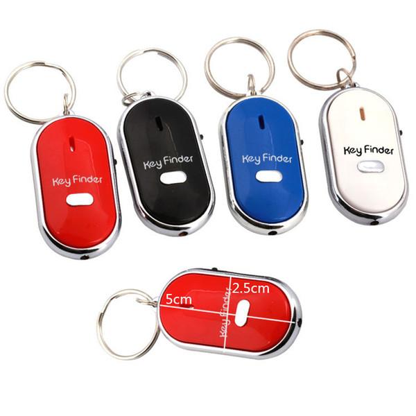 Venta al por mayor Anti Lost LED Key Finder Locator 4 colores Voice Sound Whistle Control Locator Llavero llavero Control Antorcha