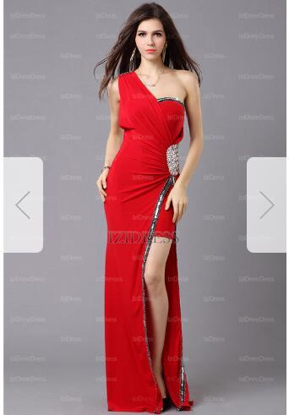 Sheath/Column One Shoulder Floor-length Jersey Prom Dresst6