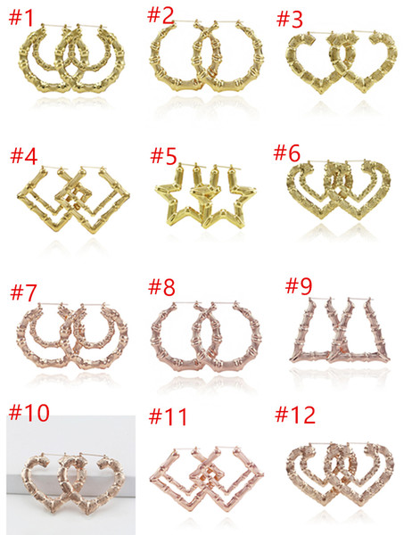 best selling 2019 Luxury Jewelry Multiple Shapes Ethnic Large Vintage Gold Plated Bamboo Hoop Earrings for Women free choice DHL Free