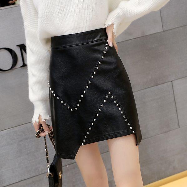 Femmes noires faux cuir court jupe Rivet 2018 automne hiver mode vintage taille haute Casual Pu jupe trapèze avec arc Femme Y19060301