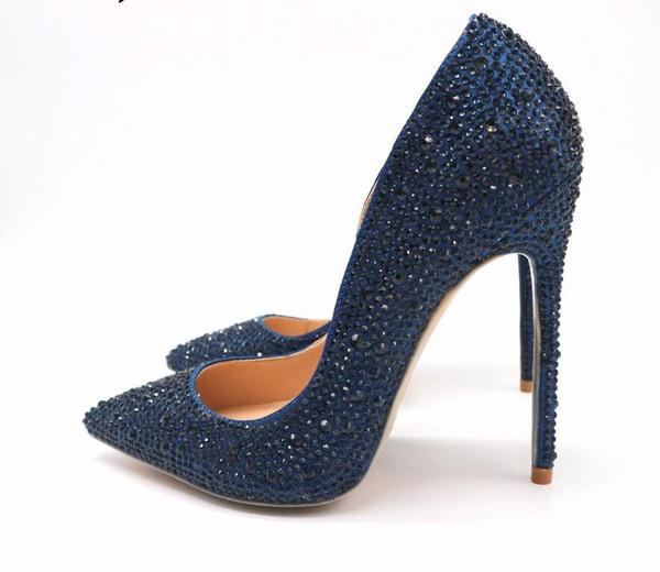 Free Shipping woman women lady2019 new dark blue navy crystal pointed toe high heels shoes pumps Rhinestone Stiletto Heel
