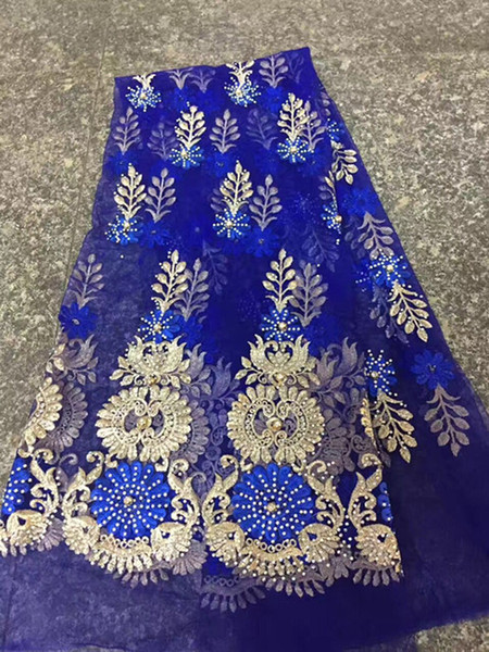 Zh05 Fancy Flower Embroidered French Lace With Beads,good Quality African Net Lace For Party & Wedding Dress!there Are Many Gems