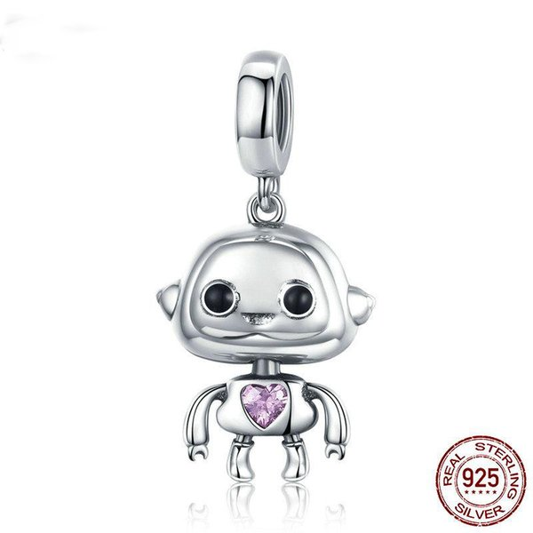 Pandora Style Hot Sale Authentic 925 Sterling Silver Robot Pendant Charms Fit Bracelets Necklaces Jewelry Making Children Gift