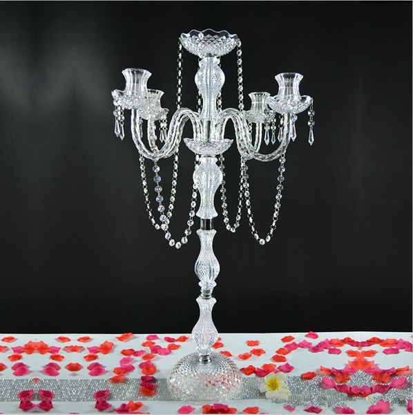 "10pcs/lot 35.4"" tall 5 arms acrylic crystal candelabra centerpiece candle holder wedding event table decor candlestick flower stand holder"