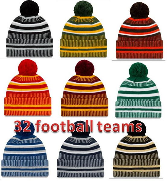 best selling 2019 New Arrival Sideline Beanies Hats American Football 32 teams Sports winter side line knit caps Beanie Knitted Hats drop shippping nb001