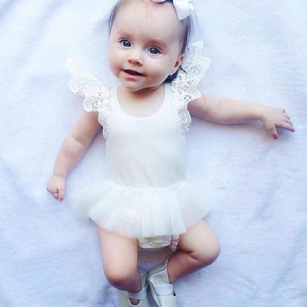 INS Newborn Clothes Cotton Lace Baby Romper One-pieces Newborn Bodysuit Sleepsuit Kids Jumpsuit Classic Black White Girls TUTU Dress 017