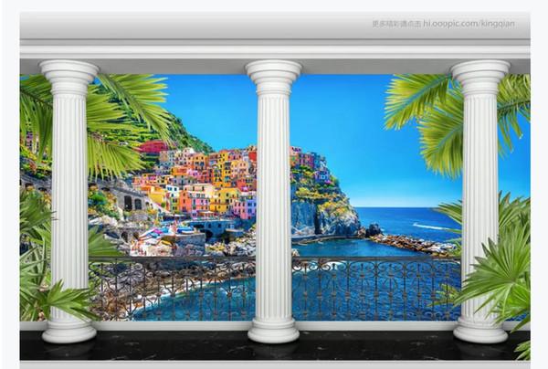3D customized large photo mural wallpaper Garden Roman Column Colonnade Seaside Town Scenery 3d TV Sofa Background Mural Wallpaper for walls
