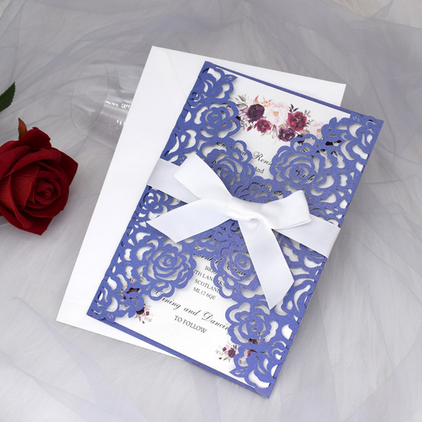 top popular Blue Shimmer Laser Cut Folded Wedding Invitation Kits with Ribbon, Invitations for Engagement Business DIY Anniversary Invites 2021