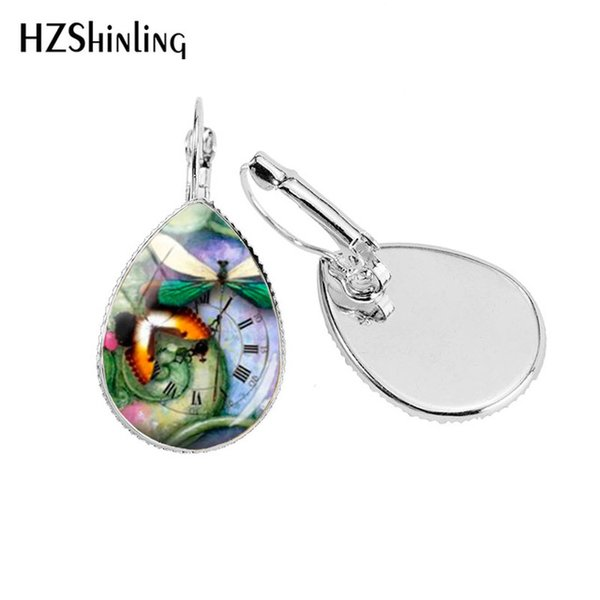2019 new steampunk dragonfly ear clip dragonflies art ear clips silver handmade glass dome jewelry man's ear clip