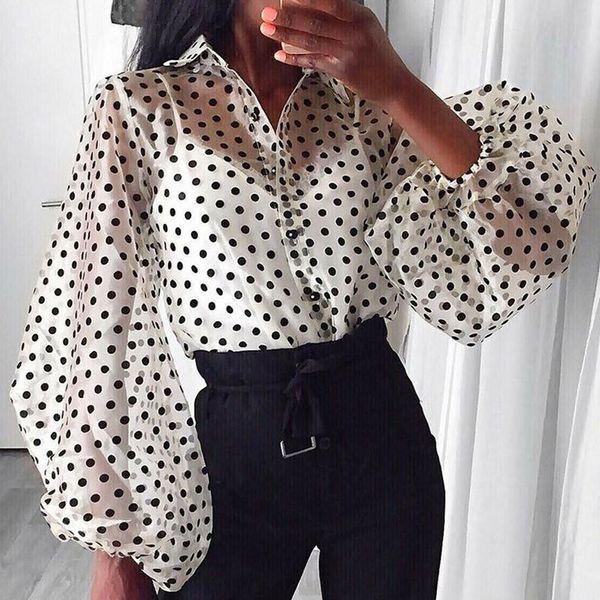 2019 Autumn Blouse Shirt Women Mesh Sheer Top Lantern Sleeve Perspective Blusas Shirts See-through Long Sleeve Blouses Tops