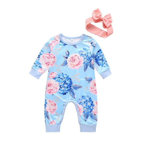 INS Baby Girls Floral Jumpsuit Fashion Autumn Flower Printed Long Sleeve Infant Romper round collar Toddler Casual Onesie Y2108
