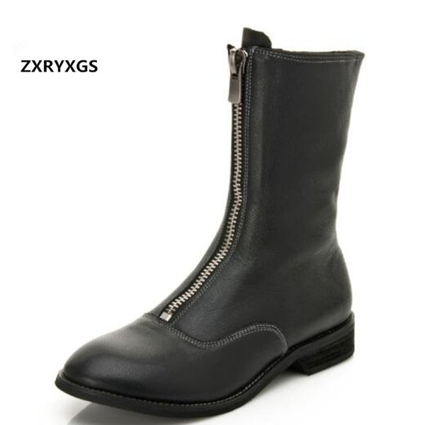 Sheepskin Low- Heel Front Zipper Women Boots Martin Boots 2019 Newest British Wind Spring Leather Plus Velvet Winter