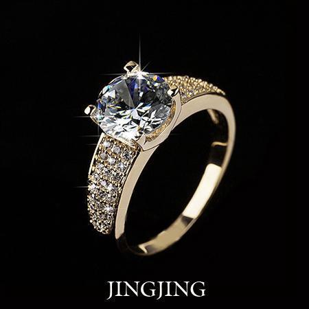 2019 18K Gold Plated 2ct Round Cut Swiss Zirconia Diamond with micro CZ Setting Bridal Rings (Jingjing JR027A) Hot4U