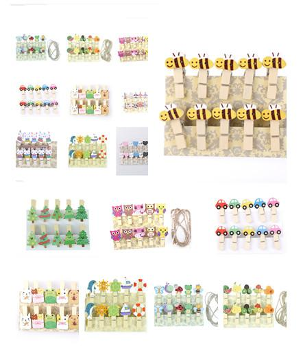 1/10/20/50Pcs Christmas Snowman Duck Heart Owl Mini Natural Wooden Clips For Photo Clips Clothespin Craft Decoration Pegs