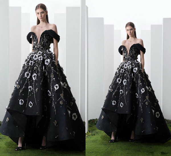 2019 Saiid Kobeisy Prom Dresses Off The Shoulder Lace 3D Floral Appliqued Beads High Low Evening Gowns Floor Length Formal Party Dress