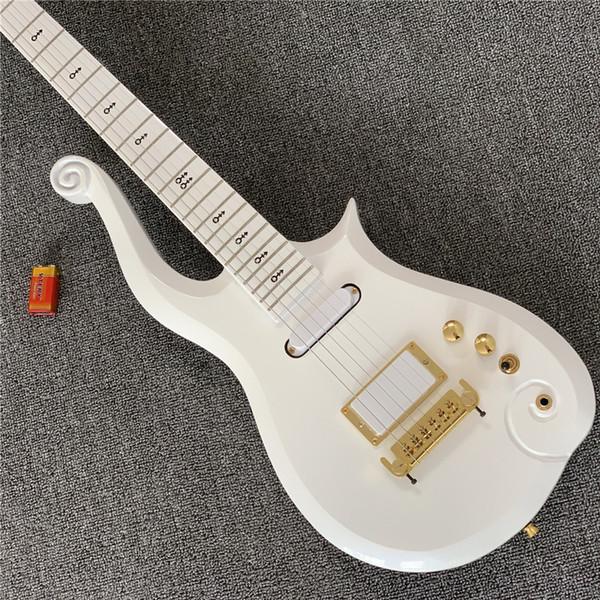 Frete Grátis Super Rare Príncipe Nuvem Faísca Branco Pérola Guitarra Elétrica Corpo, Maple Neck, Preto Símbolo Embutido, Enrole Em Torno do Tailpiece,