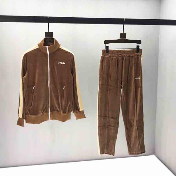 19FW concepteur hommes Survêtements anges Tissu velours lettres imprimé vêtements de cou Zip manches longues Hommes Femmes Pantalons zipper Jogger Brown
