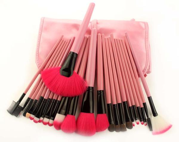 24 pc / lana di fibra set multifunzionale pennello cosmetico con PU bag spazzola trucco set