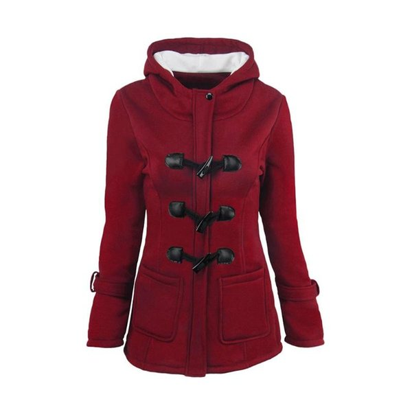 warm solid color hooded trench coat thicken slim fit girls autumn winter jacket outerwear horn buckle women pockets plus size