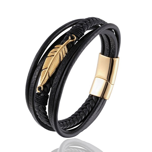 Silver/Gold/Black Angel wings Multi-layers Stitching Religions Bracelet Bangle For Male Christian Jewelry for Blessing Gift