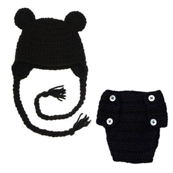Lovely Crochet Baby Bear Costume,Handmade Knit Baby Boy Girl Black Bear Hat with Ears,Diaper Cover Set,Infant Newborn Photo Prop