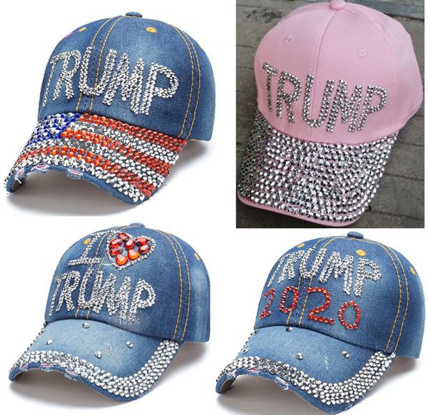 best selling DHL 5 Styles hot sale trump 2020 baseball cap trump hat election campaign hat cowboy diamond cap Adjustable Snapback Women Denim Diamond hat