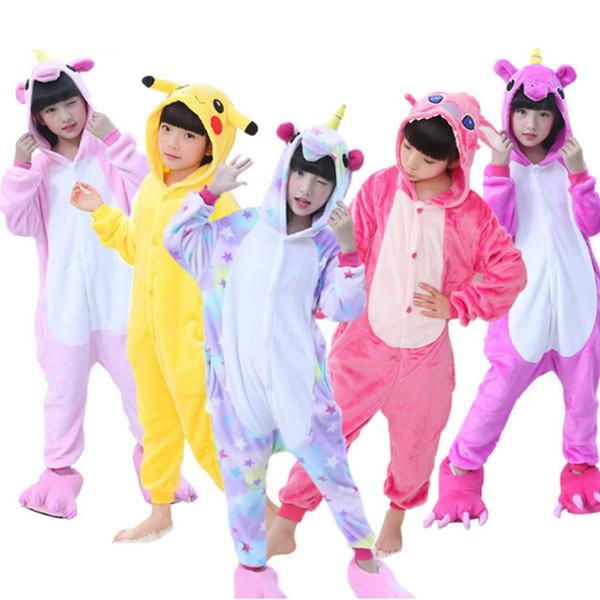 Children Pajamas Kigurumi for Boys Girls Unicorn Pajamas Flannel Kids Pijamas Set Animal Kids Sleepwear Winter Pajama set 4-12T