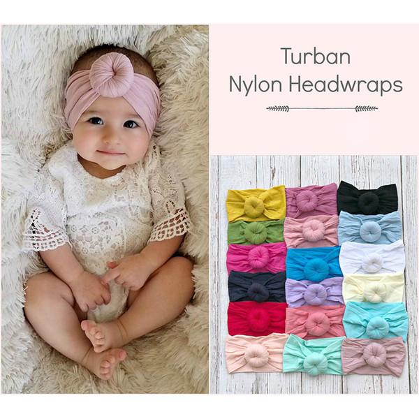 Insgram venta caliente 21 bola de color turbante Nylon Headwraps bebé diadema niño pelo banda banda de la cabeza Bandas lindo Headware accesorios para el cabello