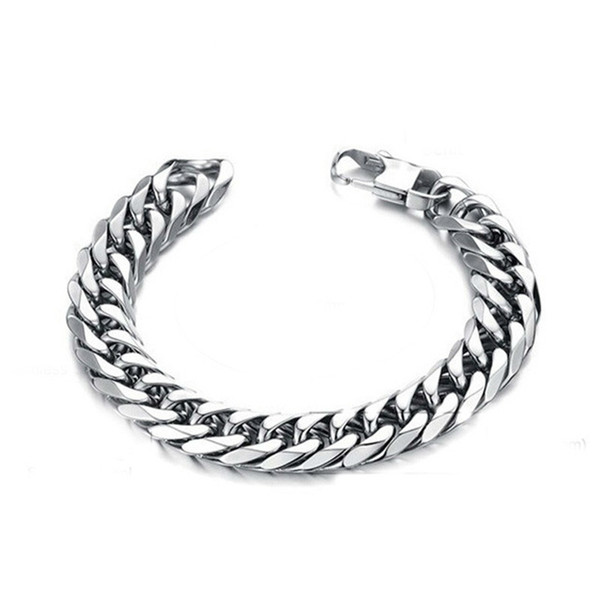 2019 stainless steel men bracelet gifts mens male boy curb cuban link chain on hand chain accessories bracelets hip hop style