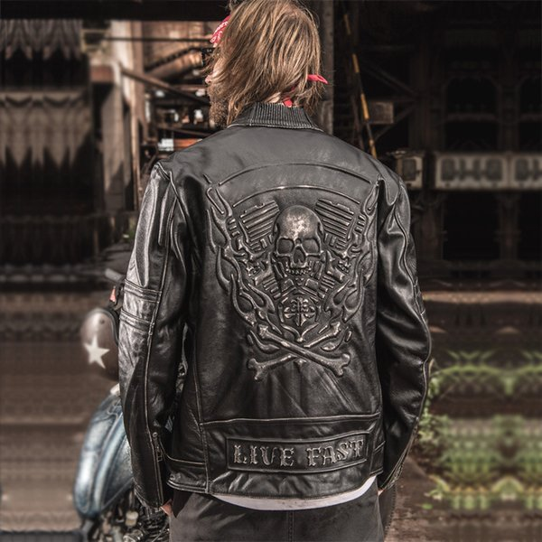 2018 New Men Vintage Skulls Genuine Leather Motorcycle Jackets Black Stand Collar Cowskin Slim Fit Men Winter Biker Coats