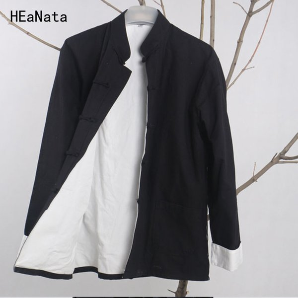 Men's Casual Jacket New Spring Autumn Winter Kung Fu Coat Traditional Chinese Tang Suit Coat Tai Chi Uniform Cotton Tops