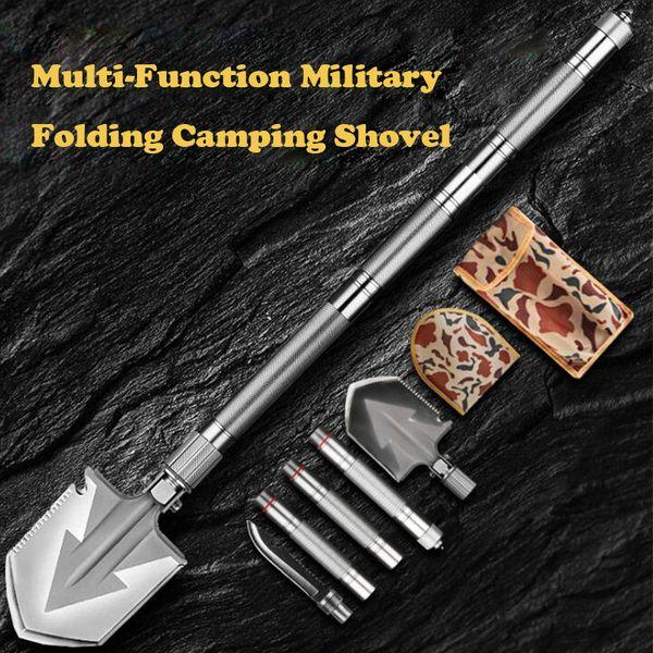 top popular Max Length 92cm Shovel High-carbon Steel Shovel Outdoor Tactical Multifunctional Folding Camping Equipment Survival Tool 2021