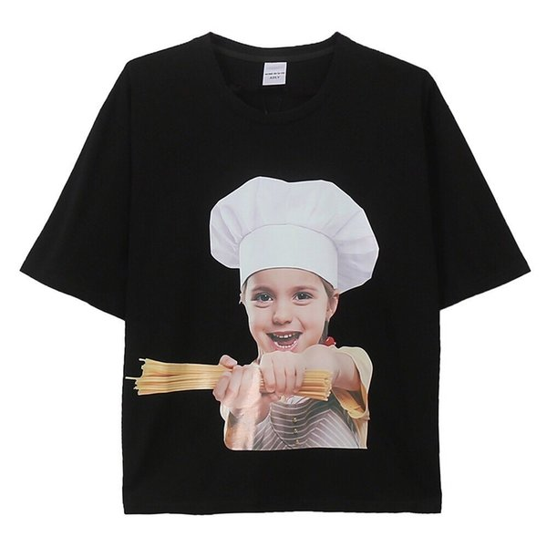New T-shirt high quality big head doll chef hat printing short sleeve men and women with the same paragraph blackg
