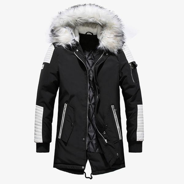 2019 Winter Jacket Men Fur Collar Hooded Oversized Black Long Parka Coats Pu Thicken Windproof Warm Jackets Outerwear