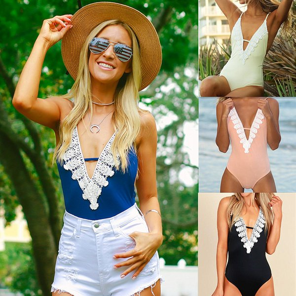 Women's bikini jumpsuit sexy halter top white women lucency Feel lace stitching tight backless jumpsuit Vneck line gallus