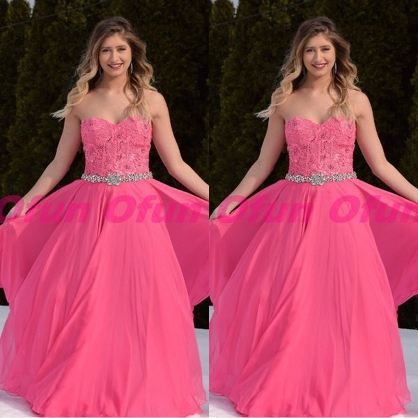 Lovely Sweetheart Neck Sleeveless Fuchsia Prom Party Dress Appliques Lace Chiffon Sweet 16 Dress With Sash
