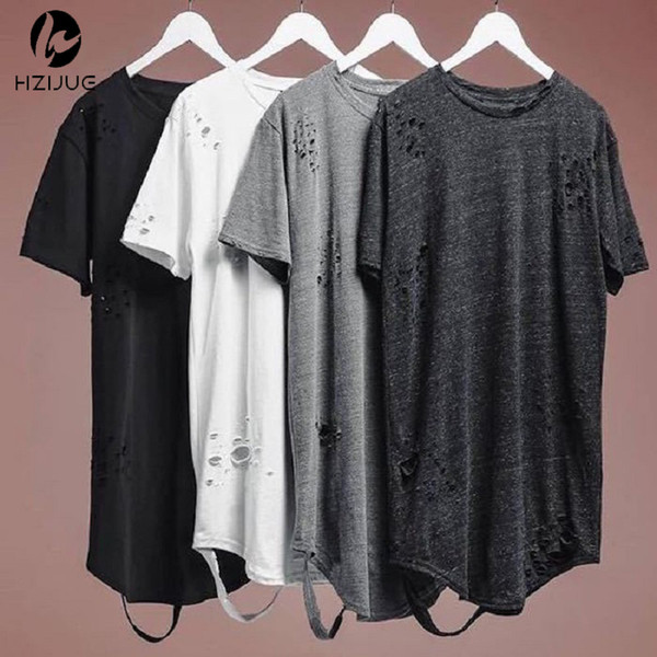 Hzijue Alibaba Streetwear Hipster Men Clothes Kanye West Clothing Mens Curved Hem Ripped Tee Shirts Extended Distressed T Shirt Y19060601