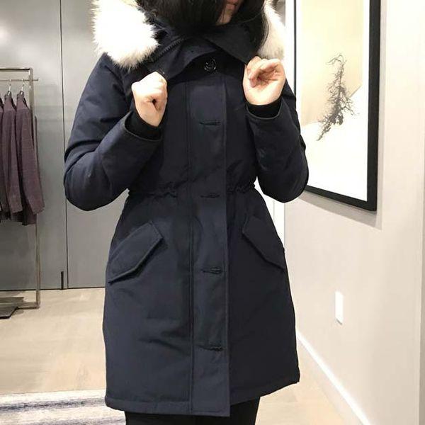 New Winter Down Parka Ross-Clair Women Designer Fashion Long Jackets Hoodies Outwear Female real wolf fur Parkas Outdoor Warm Coats Sale