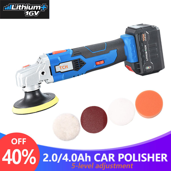 top popular TCH Waxing Machine with 16V Lithium Battery Portable Cordless Car Polisher 5-level Adjustable Speed Polishing Machine M10 Thread 2021