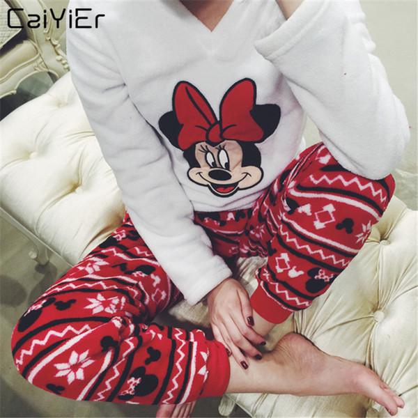 Caiyier 2018 Mulher Moda Thick Inverno Quente flanela Pajama Define rato dos desenhos animados Pyjas Pijamas Roupa de neve Nightgown Feminino