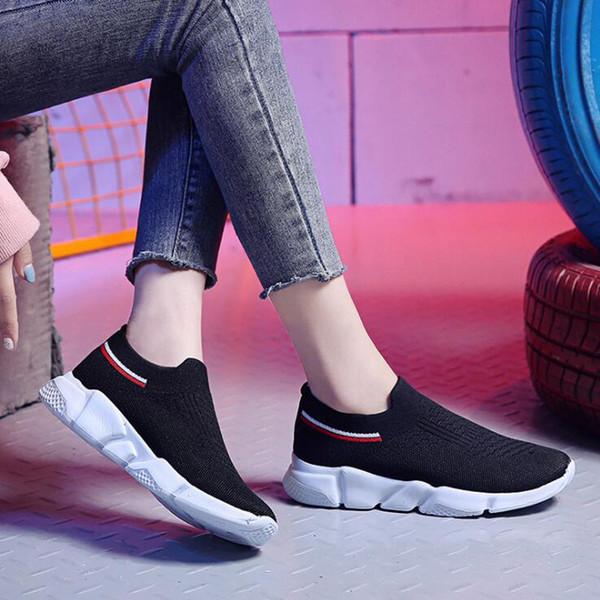 Zapatillas de plataforma BJYL para mujer 2019 nuevas zapatillas de malla transpirables tejidas voladoras para mujer zapatos para caminar de ocio al aire libre -08