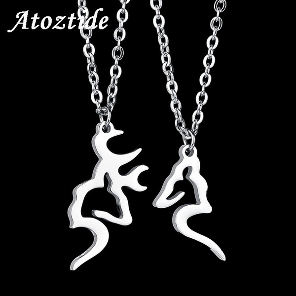 Atoztide 2pcs/set Romantic Stainless Steel Antler Necklace For Lovers Her Buck His Doe Beads Chain Necklace Valentine Gift