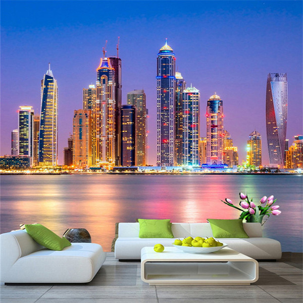 Custom 3d Wall Mural Wallpaper Beautiful Dubai City Night Landscape Photo Wall Paper Living Room Restaurant Cafe Decor 3d Fresco Mobile Wallpaper