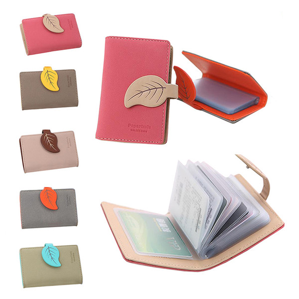 Nice New Fashion Women Leaf Bolt Pu Leather Card Bag Short Medium Long Leather Coin Card Holders Girls Solid Money Bags