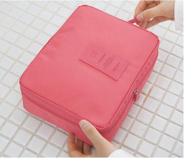 косметический куб косметичка сплошной цвет водонепроницаемый путешествия для хранения женщин цветок молния открытия большой емкости косметическая упаковка