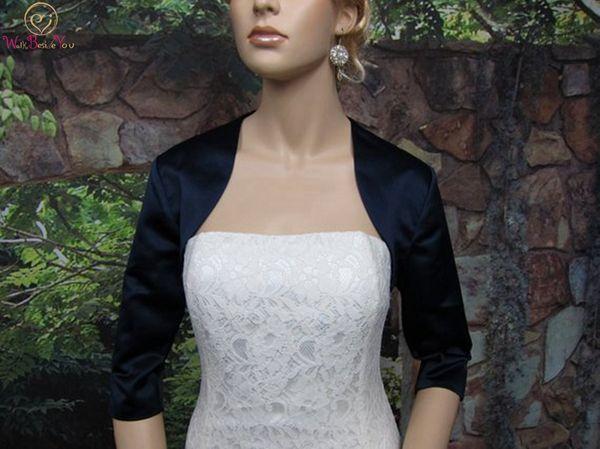 2019 последние женщины темно-синие обертывания элегантный черный болеро три четверти рукав ну вечеринку куртка атласная вечерние свадебные формальные