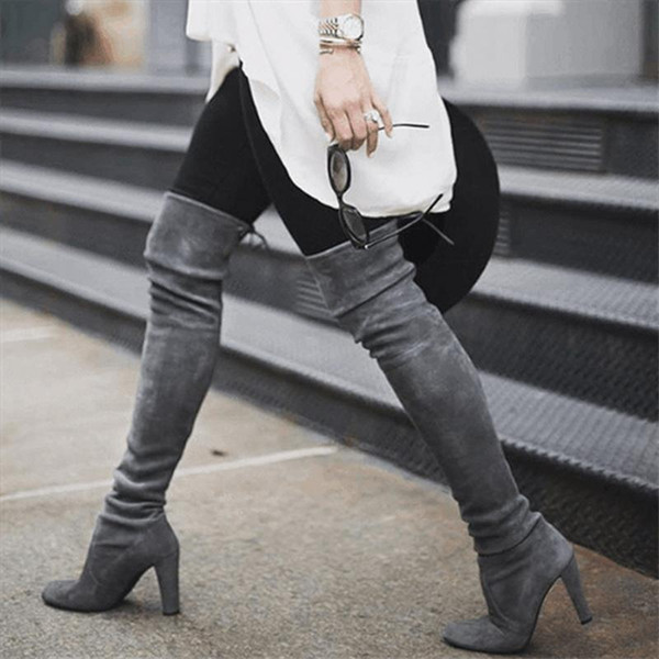 2019 новых женщин более колена ботинки ботинок зашнуровать Женщины высокие сапоги дамы Осень Зима Sexy Low Блочные каблук Обувь Плюс Размер