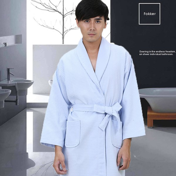 Waffle 100% Cotton Men Bathrobe Kimono Robe Long-sleeve Sweat Evaporate Couples Bath Robes Hotel SPA Robes Dressing Gown White