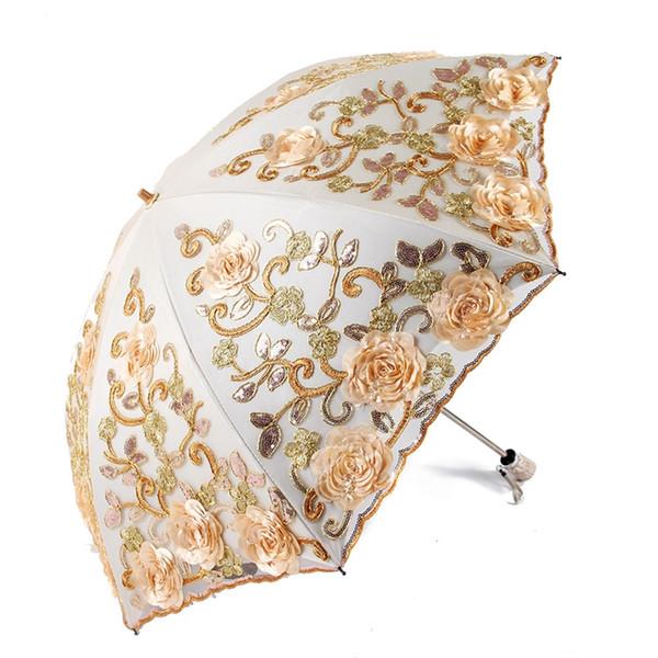 2018 Guarda-chuvas Bordados UV Guarda-chuva de Praia Adulto Flor Rosa Guarda-chuva De Chuva Mulheres Noble Parasol Transparente 50Ry88